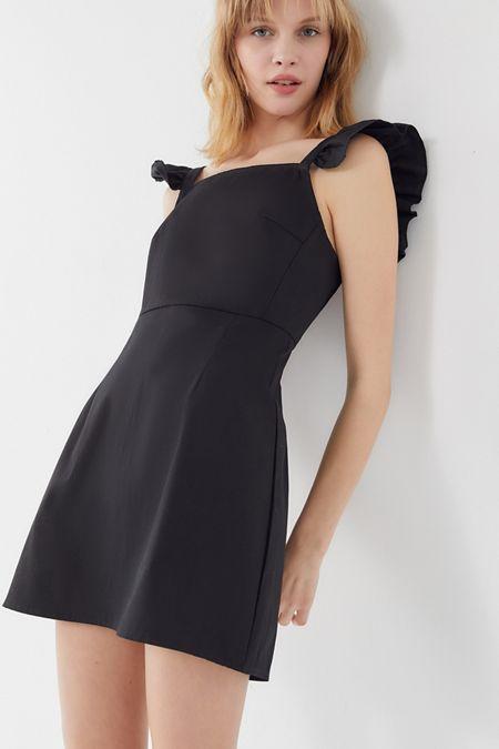 00589724ae Urban Renewal Remnants Poplin Ruffle Sleeve Mini Dress