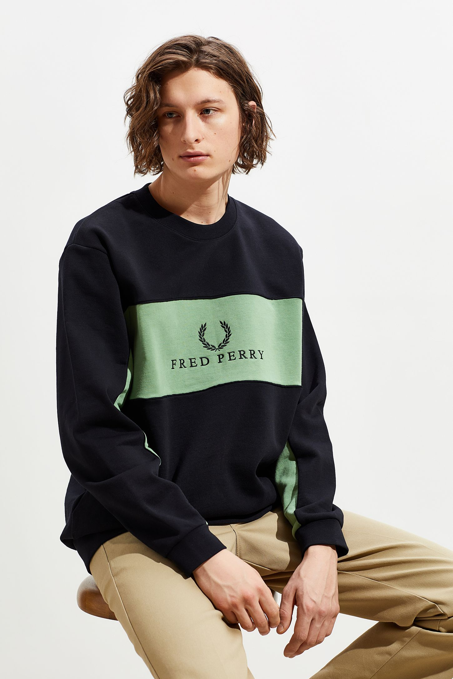 af54ce7a3e7 Fred Perry Colorblock Panel Piped Crew Neck Sweatshirt