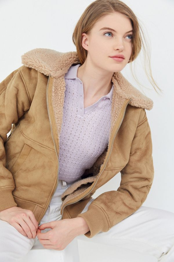 5082e10ec1c UO Faux Suede Sherpa Bomber Jacket | Urban Outfitters