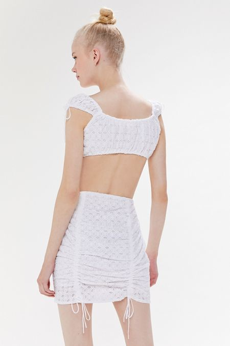 a86471973 For Love & Lemons Montauk Eyelet Cinched Mini Skirt