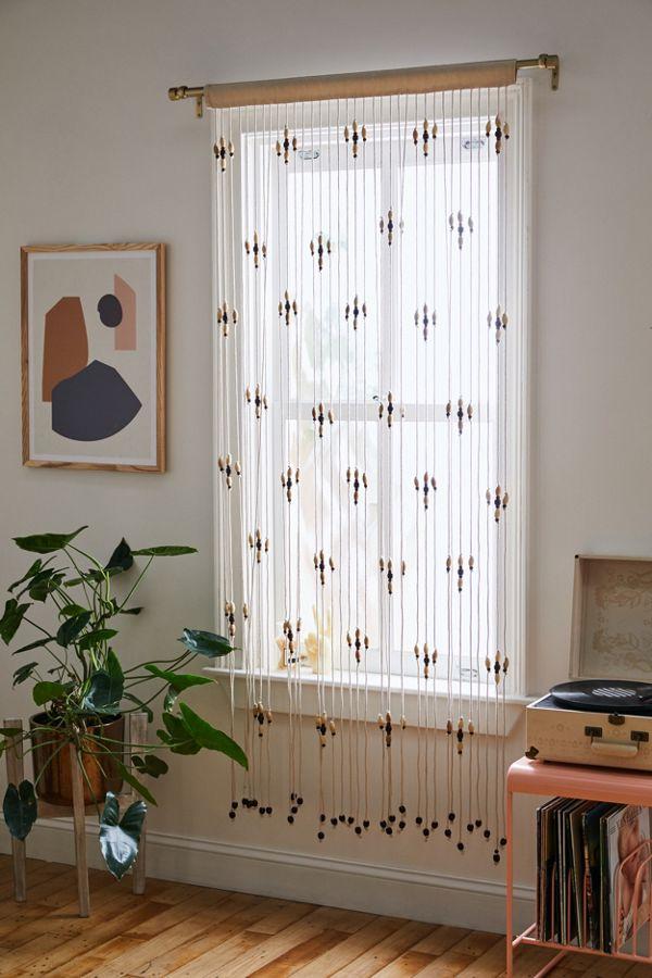 Slide View: 1: Flower Beaded Macramé Window Panel