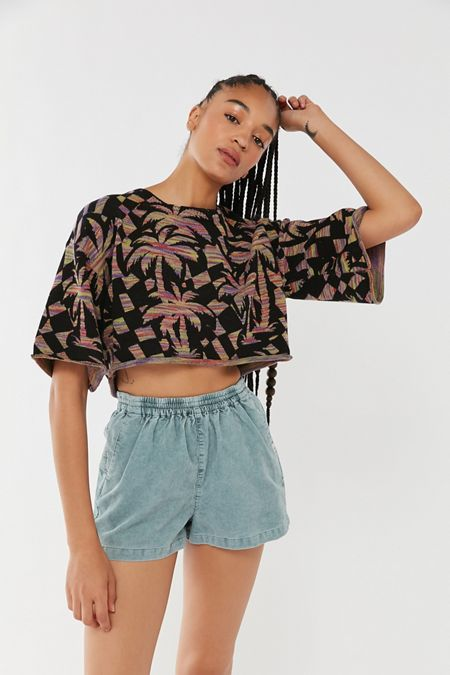1ee803e6d UO Cape Printed Oversized Cropped Sweater