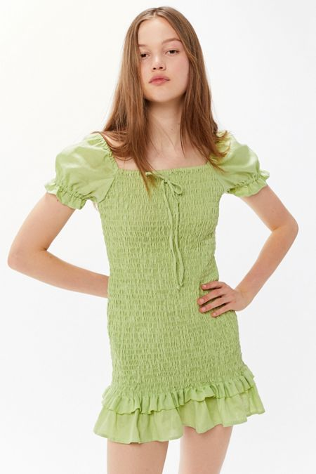 ca0f2e10d01 Faithfull The Brand Cette Smocked Puff Sleeve Mini Dress