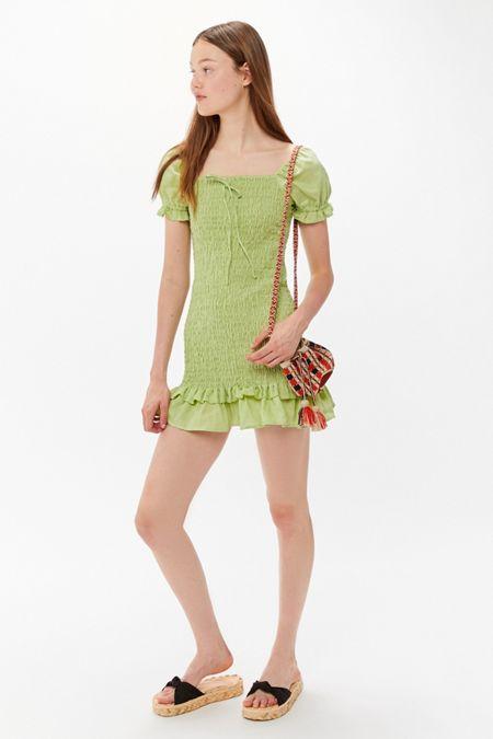 ca0f2e10d01 Faithfull The Brand Cette Smocked Puff Sleeve Mini Dress