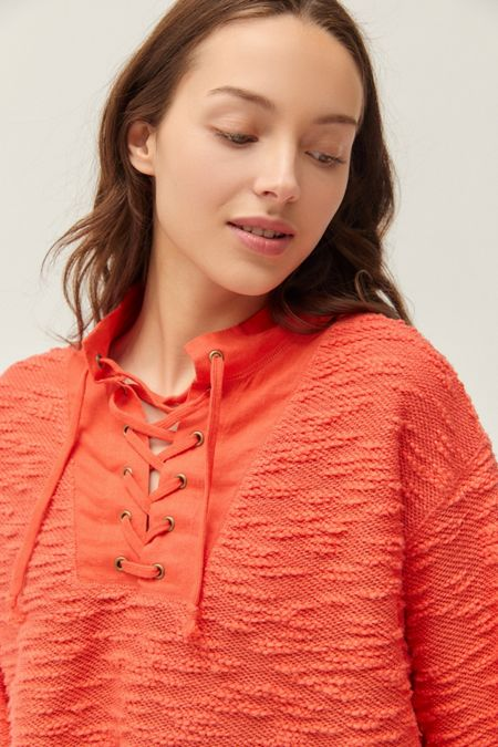 85df4122724 UO Tague Lace-Up Funnel Neck Cropped Sweater
