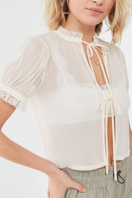 cf2a3a75c4ce1 UO Britney Sheer Tie-Front Cropped Top
