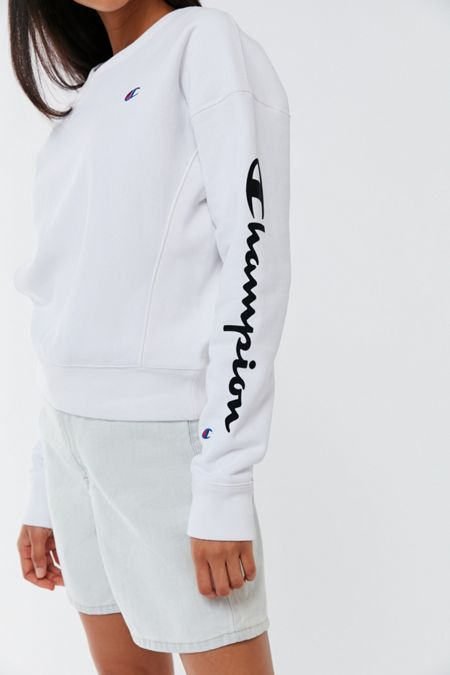 f84377481fa9 Champion UO Exclusive Script Sleeve Crew Neck Sweatshirt