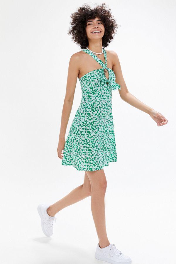 88bcd0e4f89d4e Slide View  1  UO Y-Neck Twist-Front Mini Dress