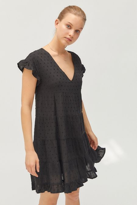 ec292f3dea UO Textured Tiered Ruffle Babydoll Dress