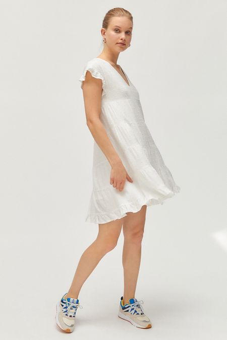 a70b007a88 UO Textured Tiered Ruffle Babydoll Dress