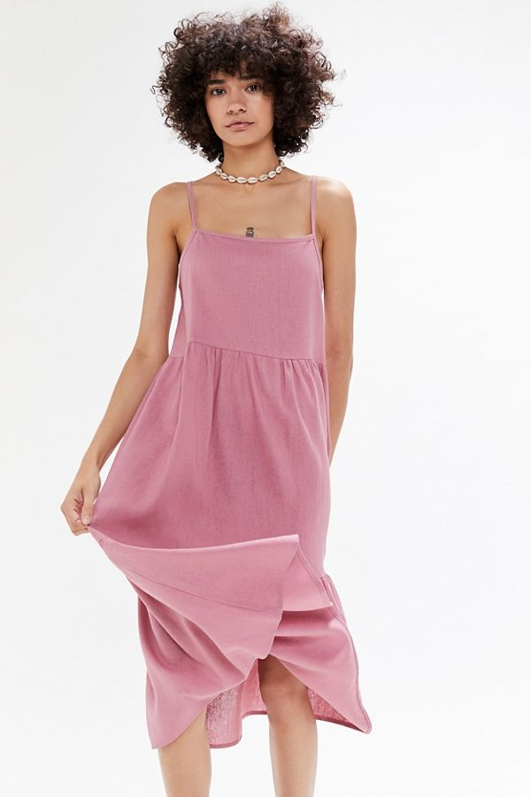 Urban Renewal Remnants Tiered Linen Shift Midi Dress by Urban Renewal