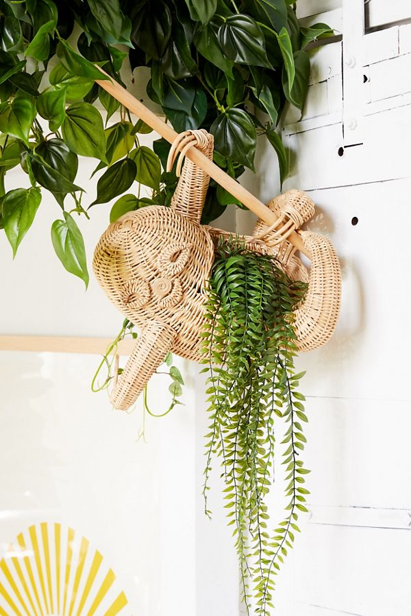Slide View: 1: Sloth Rattan Wall Planter