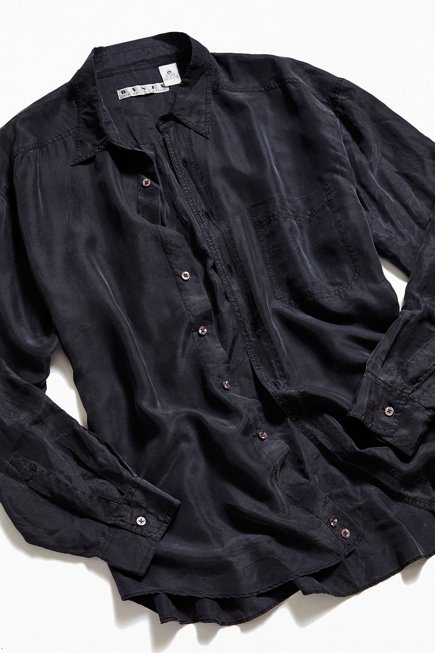decdfde7 Vintage Black Silk Button-Down Shirt. Tap image to zoom. Hover to zoom.  Double Tap to Zoom