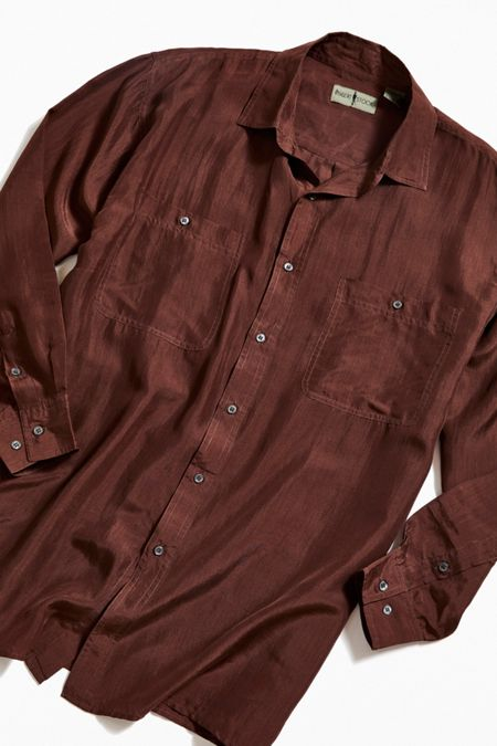 Vintage Brown Silk Button-Down Shirt 16138a01e