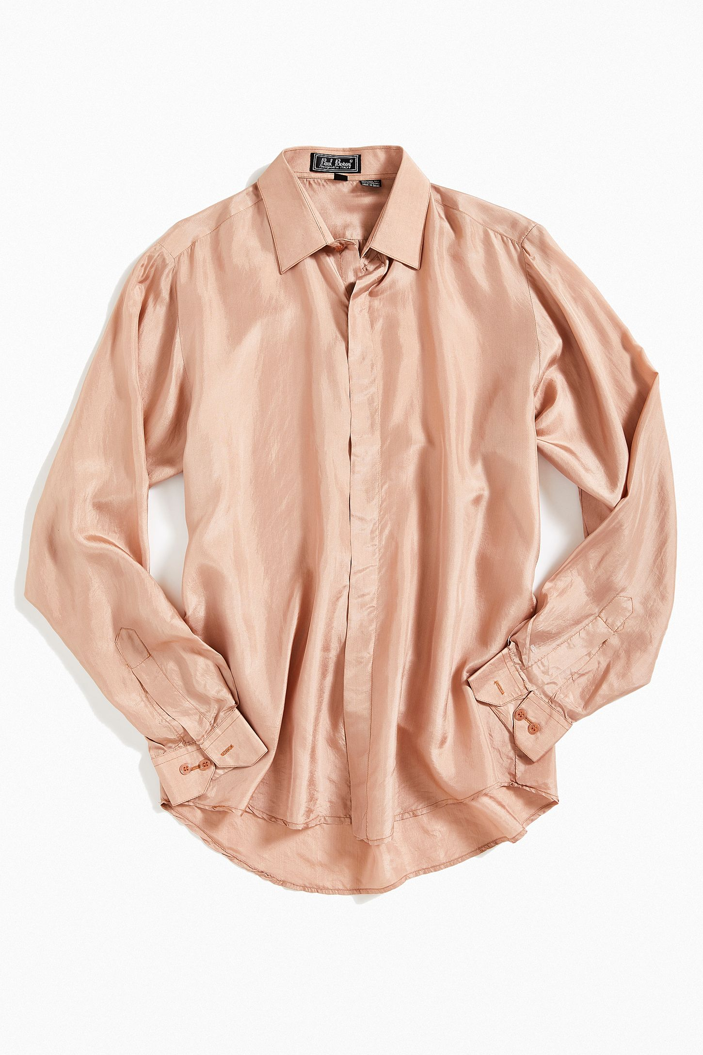 94d7ba49e354b Vintage Blush Silk Button-Down Shirt