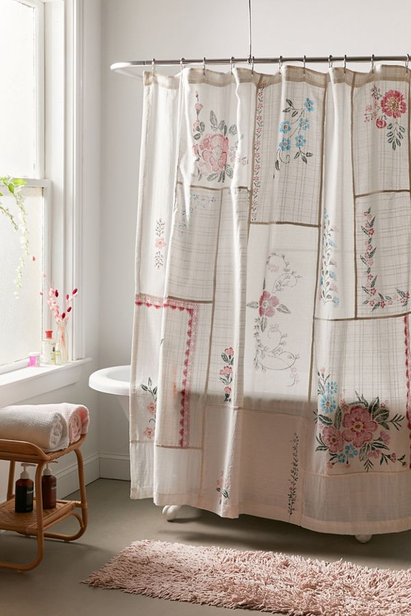 Slide View: 1: Coralie Patchwork Gauze Shower Curtain