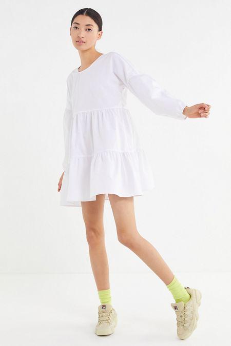 c66c29bdd2 Urban Renewal Remnants Long Sleeve Tiered Poplin Mini Dress