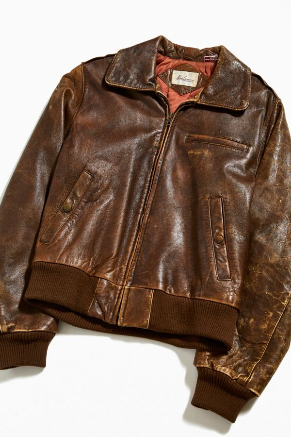 fad3e662d Vintage Chestnut Leather Flight Jacket