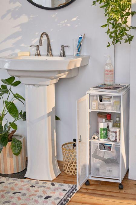 Bathroom Storage Cabinet Floor Bath Accessories Shelf Organizer Wood