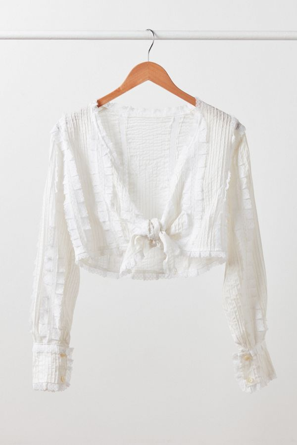 0b97b4ab37567a Vintage White Lace Tie-Front Blouse | Urban Outfitters