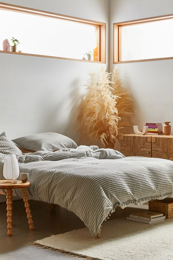 Slide View: 1: Derby Textured Jersey Duvet Cover