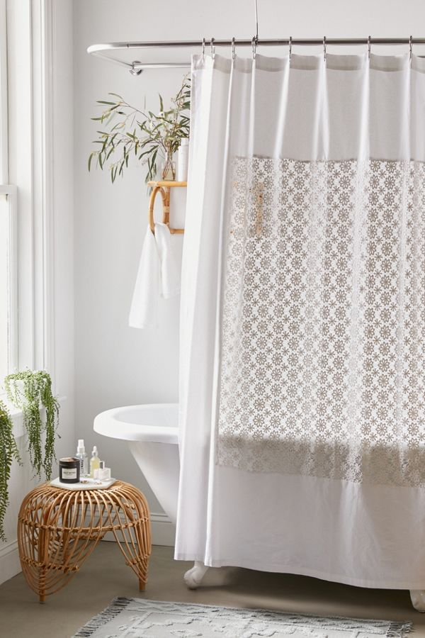 Slide View: 1: Winslow Crochet Inset Shower Curtain