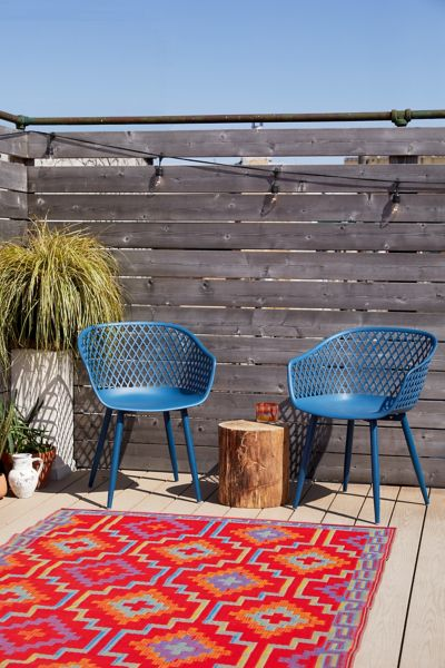 Outdoor Weather Resistant Modern Metal Blue Chairs