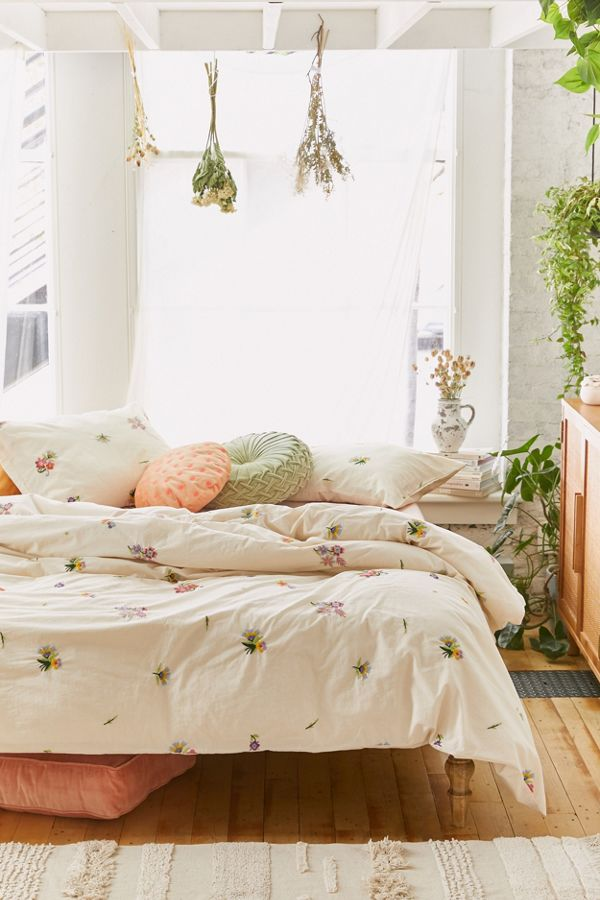 Slide View: 1: Georgine Embroidered Floral Duvet Cover