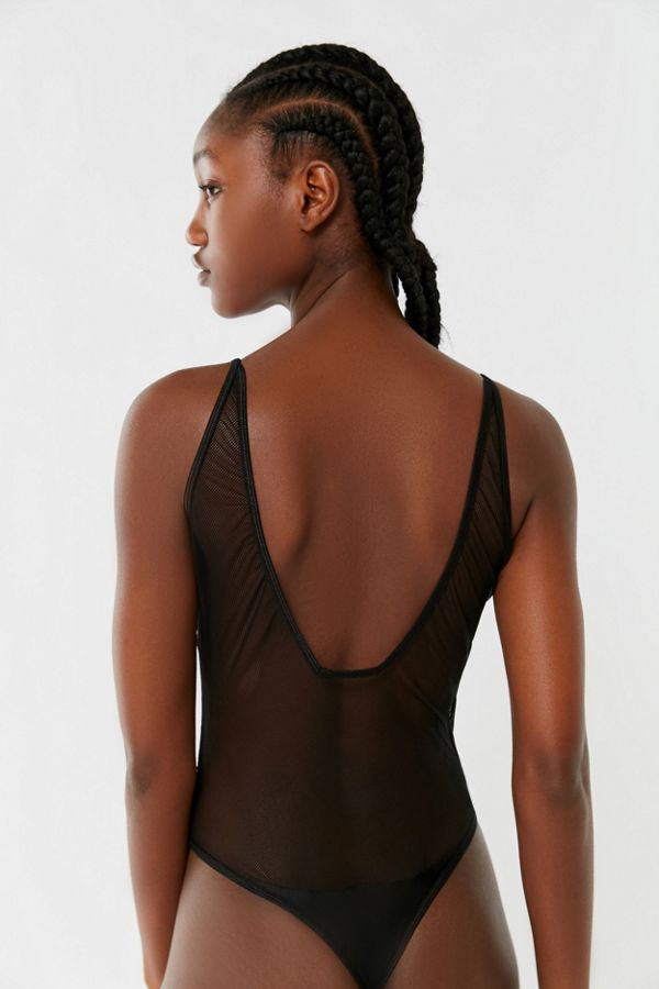 fed2d71d5a14 Out From Under Lola Sheer Mesh Plunging Bodysuit | Urban Outfitters