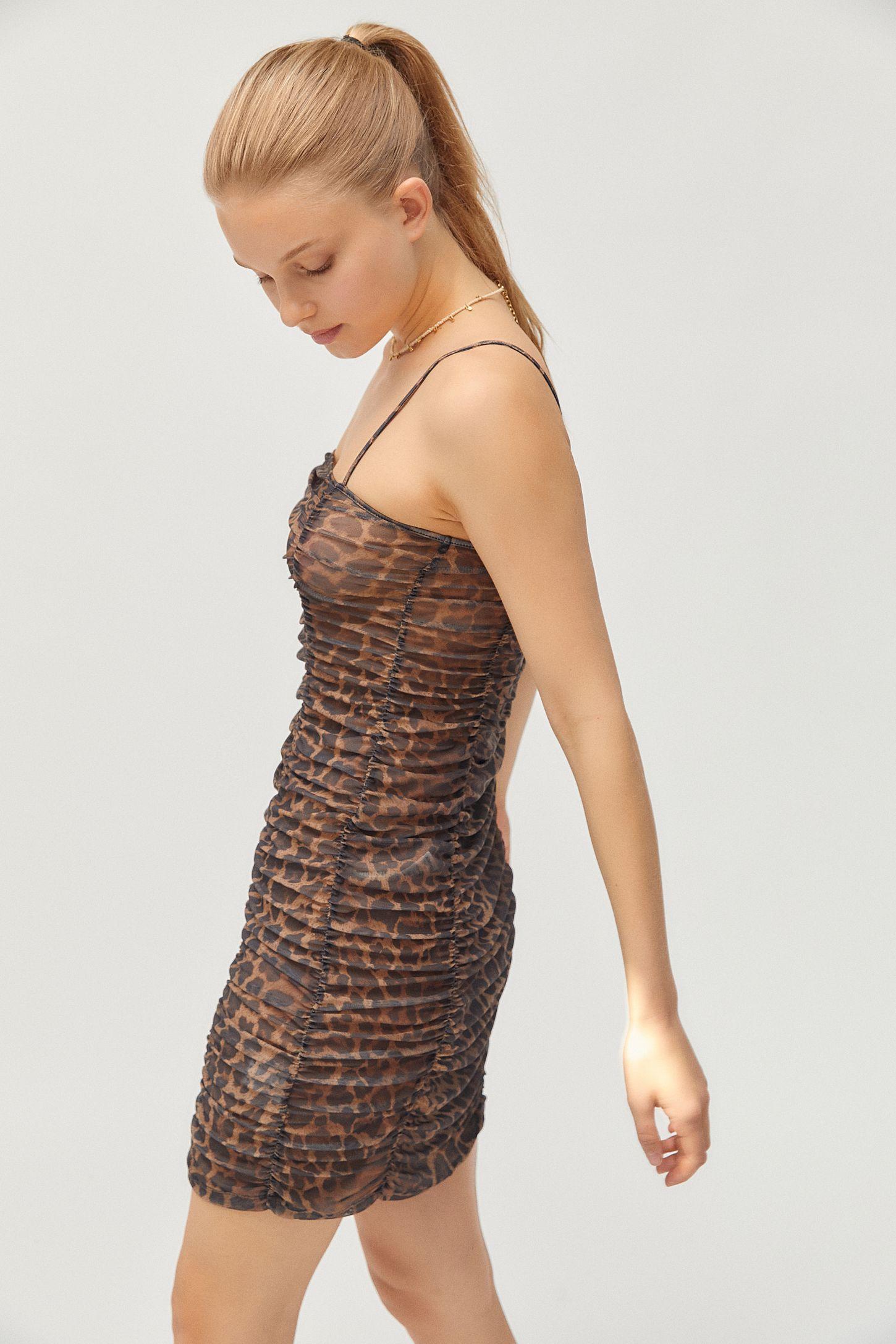 3dd54b9650a2 Motel Seruchi Leopard Print Mesh Mini Dress   Urban Outfitters