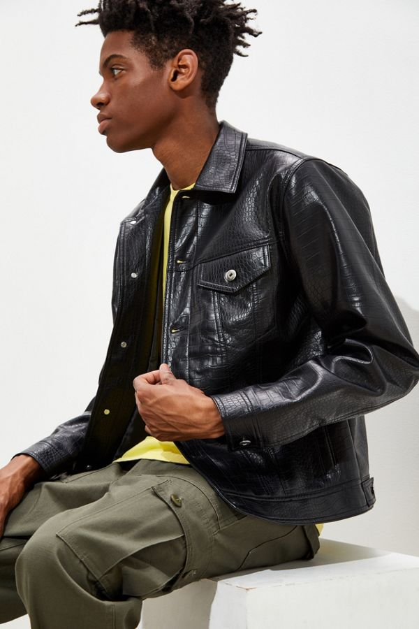 d4a3815ab UO Faux Leather Trucker Jacket
