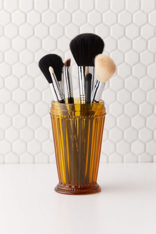 Slide View: 1: Rosalie Glass Makeup Brush Holder