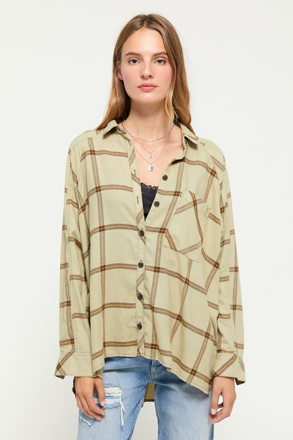 30d997b3 UO Brendan Drapey Flannel Button-Down Shirt | Urban Outfitters