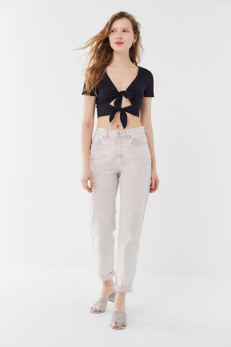 Uo Leighton Double Tie Front Cropped Top by Urban Outfitters