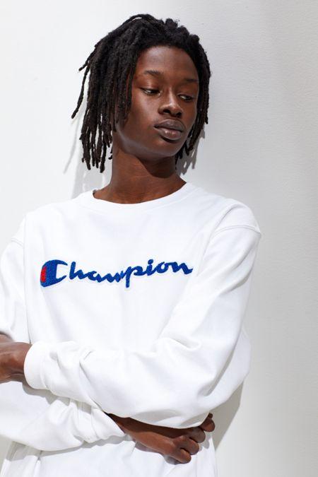 0fea0a3b9e9ca Champion Reverse Weave Chenille Script Crew Neck Sweatshirt