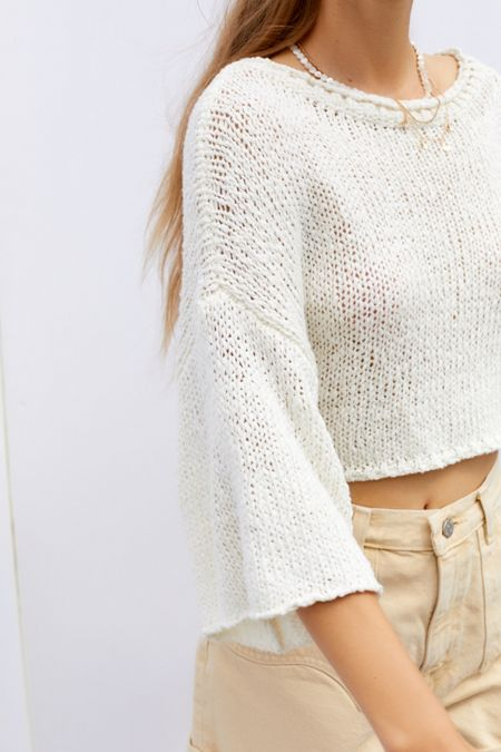 8c416f0bdf UO Cape Oversized Cropped Sweater
