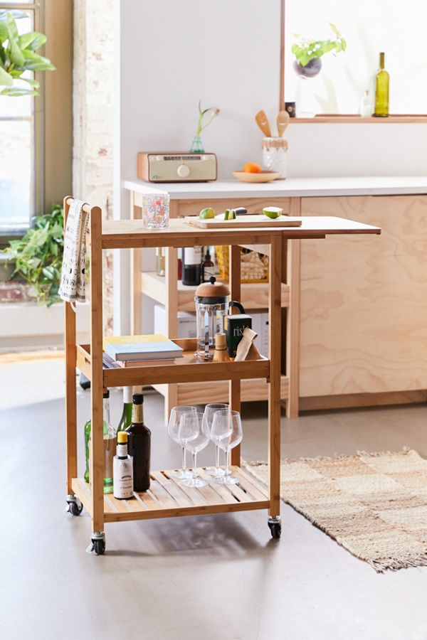Slide View: 1: Bamboo Rolling Kitchen Cart