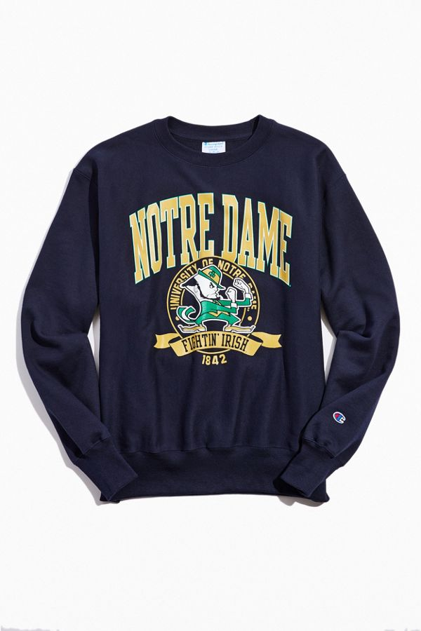 Champion University Of Notre Dame Weave Crew Neck Sweatshirt by Champion