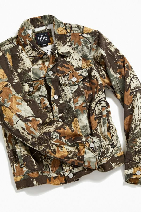 Bdg Camo Print Denim Trucker Jacket by Bdg