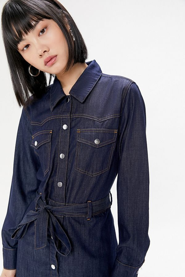 b6d1d06d7b0c4 Just Female Tinka Denim Midi Dress