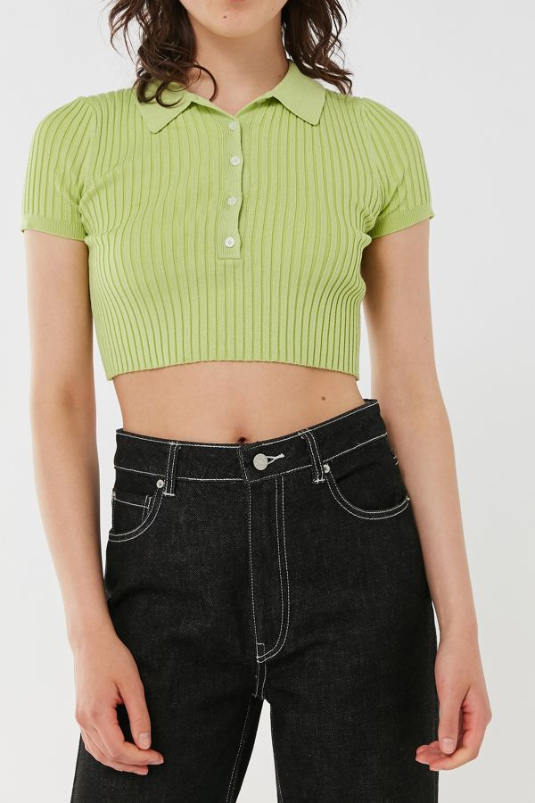 Uo Grassy Cropped Polo Sweater Top by Urban Outfitters