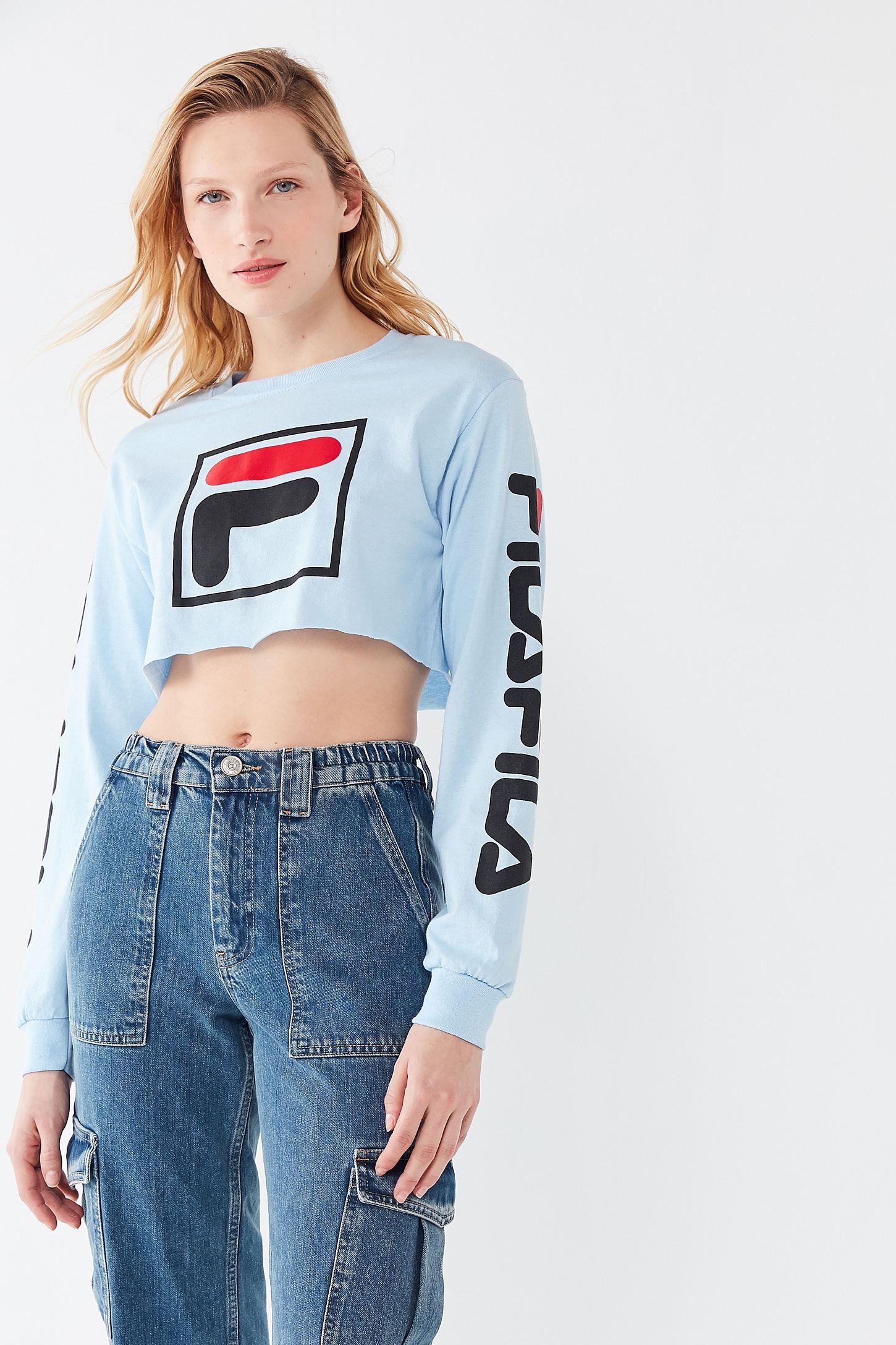 Fila T shirt manches longues décontracté avec bordures