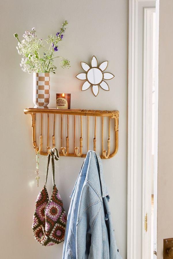 L Entryway Multi Hook Wall Shelf