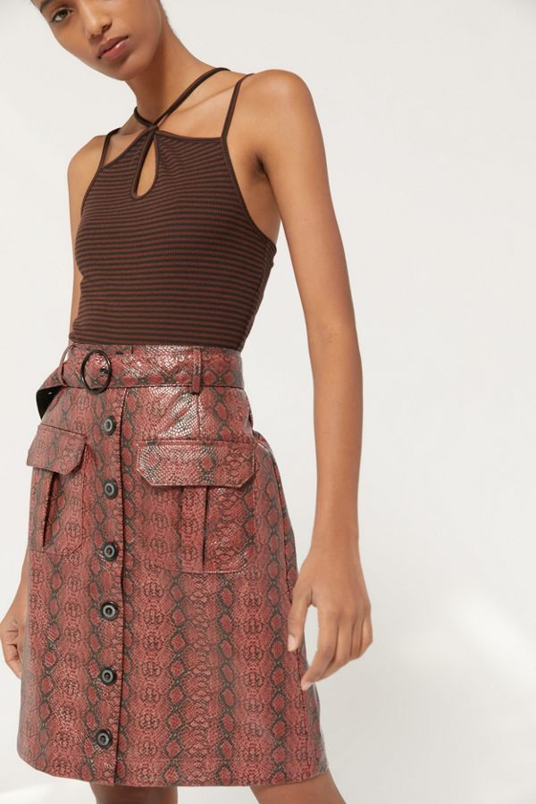 Uo Finley Snake Print Button Front Skirt by Urban Outfitters