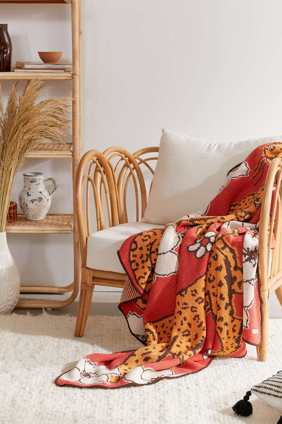 Slide View: 2: Calhoun & Co. Leopards In Flower Patch Throw Blanket