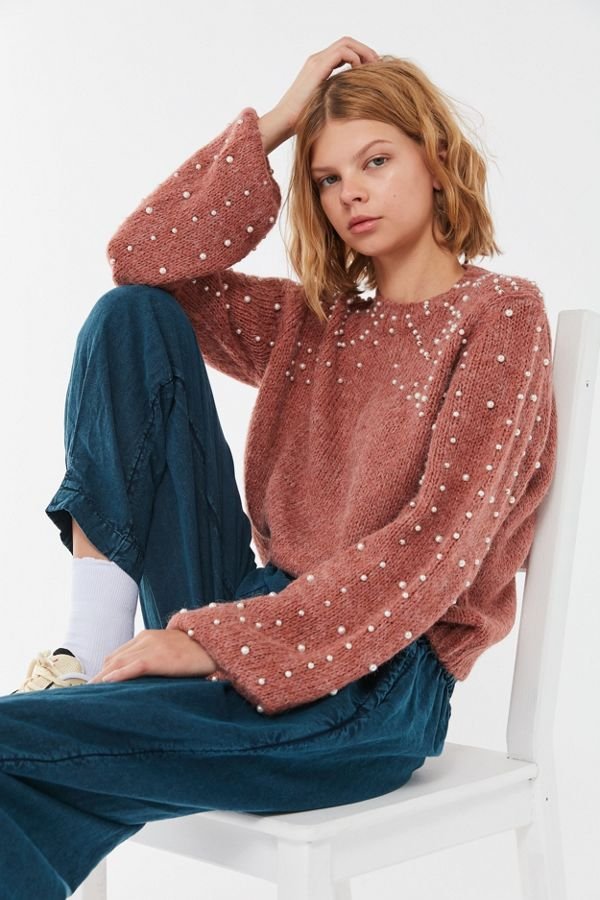 53ffd2759a9b71 UO Pearl Balloon Sleeve Sweater | Urban Outfitters