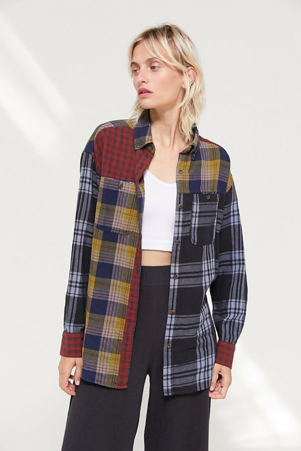 Uo Corey Spliced Flannel Button Down Shirt by Urban Outfitters