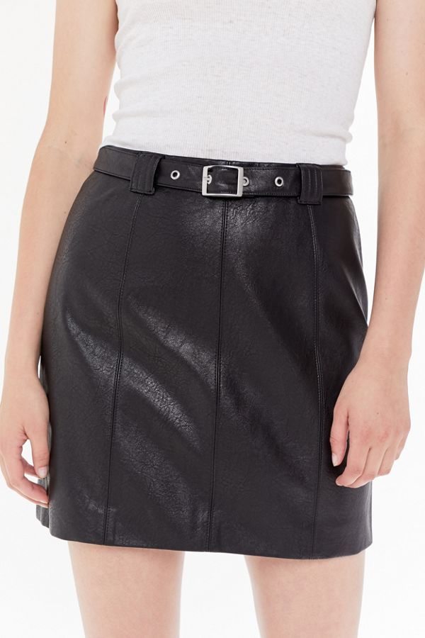 6b97ccb3a UO Franny Belted Faux Leather Mini Skirt | Urban Outfitters
