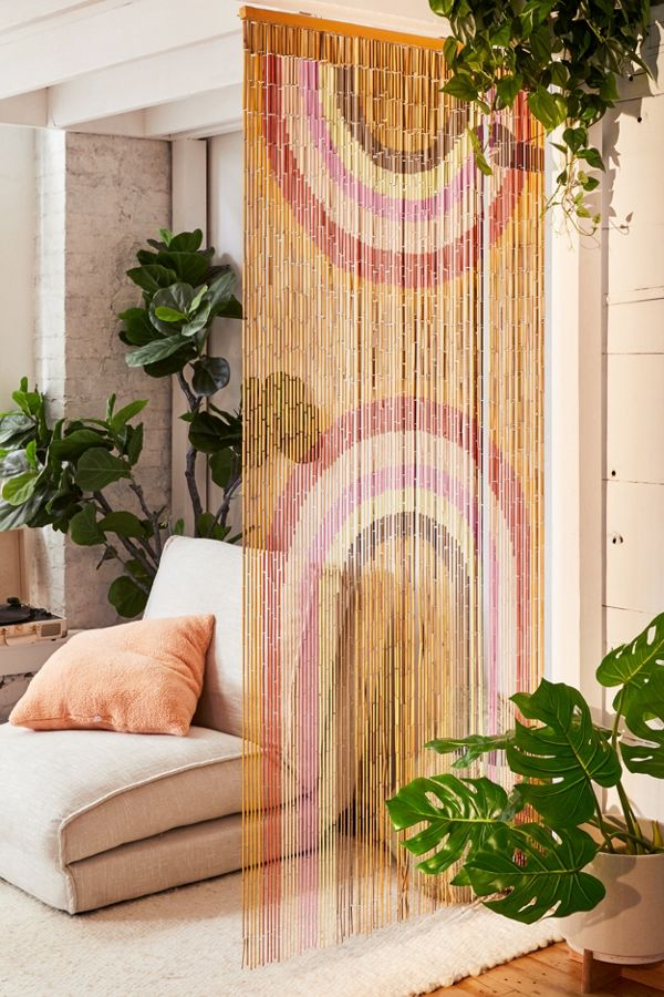 Slide View: 1: Rainbow Bamboo Beaded Curtain