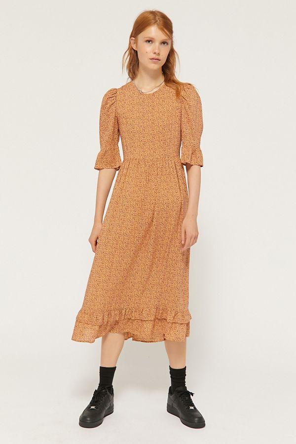 Slide View: 3: UO Sasha Paisley Puff Sleeve Midi Dress